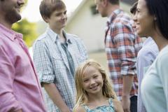 Group people adults teenagers at a summer party - stock photo