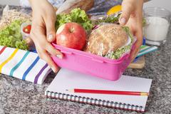 healthy school lunch - stock photo