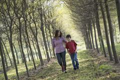A woman and child walking down an avenue of trees Stock Photos