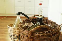 bottles of homemade wine - stock photo