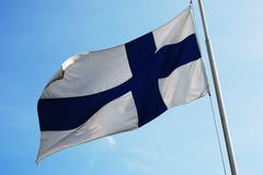 Stock Photo of fluttering national flag of finland