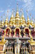 Golden pagoda at wat phra that su thon mongkhon khiri samakkhi Stock Photos