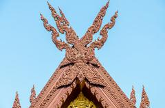 Wood gable roof on thai temple Stock Photos