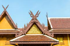 wood gable roof on thai temple - stock photo