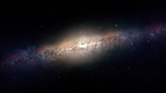 View of a glowing galaxy. Space travel universe planets stars and black holes. Stock Footage