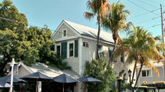 KeyWest 054HD, typical House with Palm Trees in the Duval Street Stock Footage