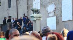 Rome demonstartion - 'Resistenza Abitativa Metropolitana' 9 Stock Footage