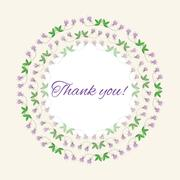 Postcard gratitude with romantic flowers and light pastel backgr Stock Illustration
