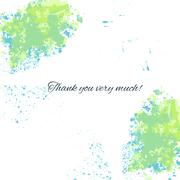 Watercolor blue-green background with thankful inscription for Stock Illustration