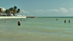 KeyWest 061HD, People are swimming in turquoise Water Stock Footage