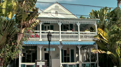 KeyWest 051HD, colonial Style House with Verandas, exotic Plants - stock footage