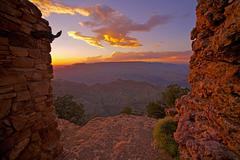 grand canyon sunset from watch tower place - stock photo
