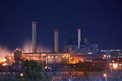 industrial buildings illumination - stock photo