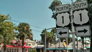 Stock Video Footage of KeyWest 052HD, Duval Street, Signs for Highway one Direction North and South