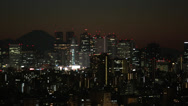 Stock Video Footage of Mt.Fuji and Downtown Shinjyuku at sunset