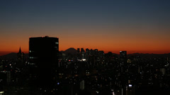 Mt.Fuji and Downtown Shinjyuku at sunset Stock Footage