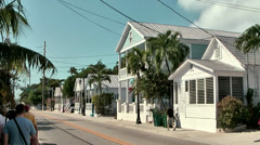 KeyWest 053HD, a Row of colonial Style Houses in Duval Street, Cables Stock Footage