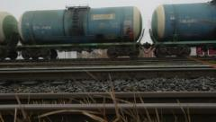 Oil tankers on the tracks - stock footage