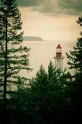 Lo-fi photography lighthouse green bc coast canada Stock Photos