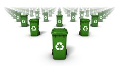 Front view of endless rows of Recycle Bins (Green) Stock Photos