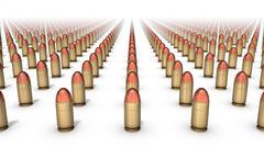 High angle front view of endless Handgun Bullets Stock Photos