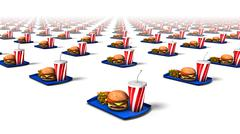 Diagonal view of endless Fast Foods Stock Photos