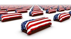 Diagonal view of endless American Coffins - stock photo