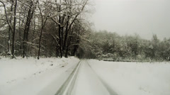 A dangerous drive through the snow time lapse Stock Footage