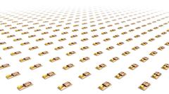 Bird's eye view of endless Mouse Traps in a grid pattern - stock photo