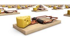 Diagonal view of endless Mouse Traps - stock photo