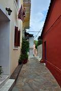 Traditional houses narrow alley Stock Photos