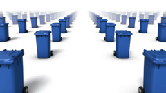 Dolly forward over many Trashcans to none (Blue) Stock Footage