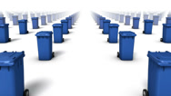 Stock Video Footage of Dolly forward over many Trashcans to none (Blue)