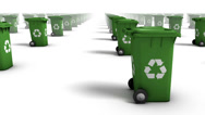 Stock Video Footage of Endless Recycle Bins side view loop (Green)
