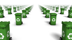 Dolly forward over many Recycle Bins to none (Green) Stock Footage