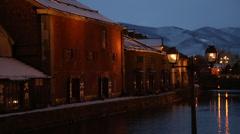 Otaru Canal in Winter Stock Footage