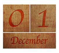 wooden calendar december 1. - stock illustration