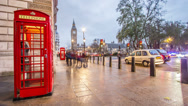 Stock Video Footage of Red Telephone Box in London, England