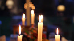 Candle lit dinner table (glide cam) Stock Footage