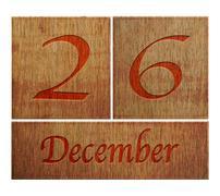Stock Illustration of wooden calendar december 26.