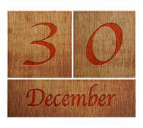 wooden calendar december 30. - stock illustration