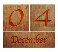 wooden calendar december 4. - stock illustration