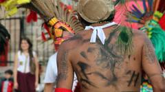 Ritualistic dancers in Latin America Stock Footage