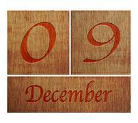 Wooden calendar december 9. Stock Illustration