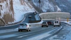 Traffic trucks cars mountain winter highway travel fast timelapse HD 0226 - stock footage