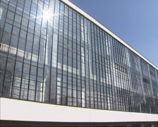 Bauhaus school building with transparent glass facade  + zoom in steel frame Stock Footage