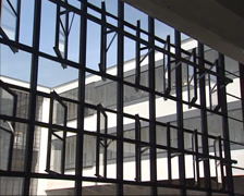 Glass facade by Walter Gropius - mechanically closing the windows Stock Footage
