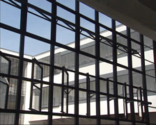 Bauhaus School glass facade by Walter Gropius - mechanically opening the windows Stock Footage