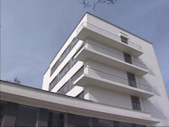 Bauhaus school building, students dormitory - long balconies Stock Footage