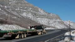 Traffic vehicle truck winter mountain highway HD 0214 - stock footage
